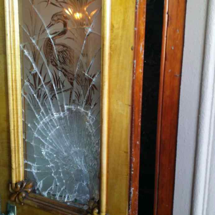 ... Our Llumar Security Films When Protecting Against Forced Entry /  Burglary. This Door Is Located At The Iolani Palace In Downtown Honolulu.  The Glass Was ...